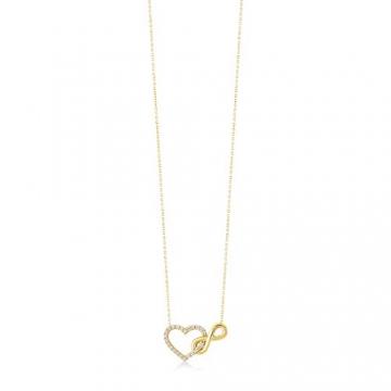 Damen Halskette aus Gold 14 Karat - 585 Echt Gelbgold mit Unendlichkeit und einem Herz verbunden als Anhänger, Zirkonia Steinen, Endlos Liebe - Geschenk für Valentinstag Geburstag - Kette 45 cm - 5
