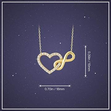 Damen Halskette aus Gold 14 Karat - 585 Echt Gelbgold mit Unendlichkeit und einem Herz verbunden als Anhänger, Zirkonia Steinen, Endlos Liebe - Geschenk für Valentinstag Geburstag - Kette 45 cm - 6