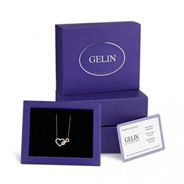 Damen Halskette aus Gold 14 Karat - 585 Echt Gelbgold mit Unendlichkeit und einem Herz verbunden als Anhänger, Zirkonia Steinen, Endlos Liebe - Geschenk für Valentinstag Geburstag - Kette 45 cm - 7