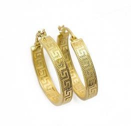 Kleine Griechische Schlüssel Ohrringe Creolen Gelbgold Aus 14 Karat / 585 Gold (3 x 14 Ø mm) - PR141 - 1