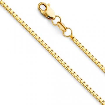 Massive 18 Karat / 750 Gold Venezianer Box Kette Gelbgold -1 mm Breit - Verschiedene Längen (50) - 1