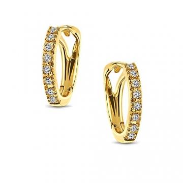 Miore Ohrringe Damen 0.10 Ct Diamant Creolen aus Gelbgold/Weißgold 18 Karat / 750 Gold, Ohrschmuck mit Diamant Brillianten (Gelbgold) - 2