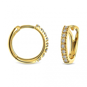 Miore Ohrringe Damen 0.10 Ct Diamant Creolen aus Gelbgold/Weißgold 18 Karat / 750 Gold, Ohrschmuck mit Diamant Brillianten (Gelbgold) - 1