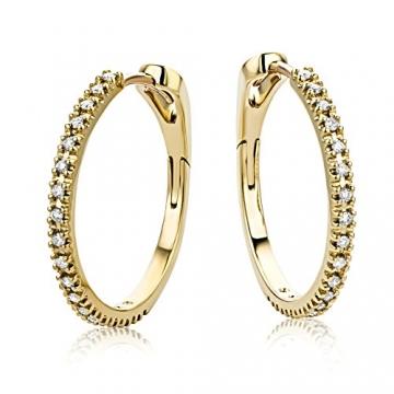 Miore Ohrringe Damen 0.18 Ct Diamant Creolen aus Gelbgold 18 Karat / 750 Gold, Ohrschmuck mit Diamanten Brillianten - 2