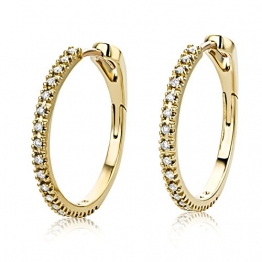 Miore Ohrringe Damen 0.18 Ct Diamant Creolen aus Gelbgold 18 Karat / 750 Gold, Ohrschmuck mit Diamanten Brillianten - 1