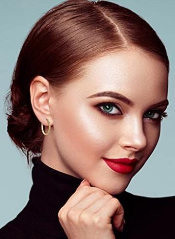 Miore Ohrringe Damen 0.18 Ct Diamant Creolen aus Gelbgold 18 Karat / 750 Gold, Ohrschmuck mit Diamanten Brillianten - 4