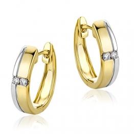 Orovi Damen Ohrringe Bicolor Gelbgold und Weißgold 0.06 Ct Diamant Creolen 14 Karat (585) Gold und Diamanten Brillanten - 1