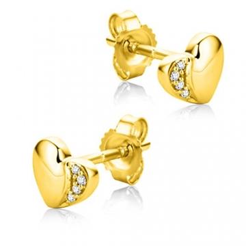 Orovi Ohrringe Damen Herz Gelbgold 18 Karat / 750 Gold Ohrstecker Diamant Brilliant 0,02 ct - 2