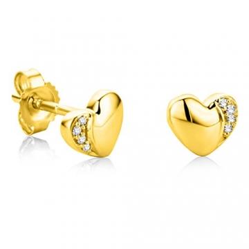 Orovi Ohrringe Damen Herz Gelbgold 18 Karat / 750 Gold Ohrstecker Diamant Brilliant 0,02 ct - 1
