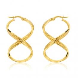 Unendlichkeit Griechische Schlüssel Ohrringe Creolen Gelbgold Aus 14 Karat 585 Gold - 1