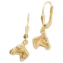 Boutons 333/-G Pferdekopf Ohrringe Pferd gold Pferdeohrringe Pferdeschmuck gold - 1