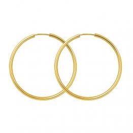 Creolen Echt Gold 40 mm 333 aus Gelbgold, Damen Ohrringe Gold mit Stempel, Breite 2 mm, Gewicht ca. 1,4 g, Made in Germany - 1