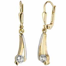 JOBO Damen-Ohrhänger aus 333 Gold Bicolor mit Zirkonia - 1
