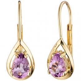JOBO Damen-Ohrhänger aus 333 Gold mit Amethyst Tropfen - 1