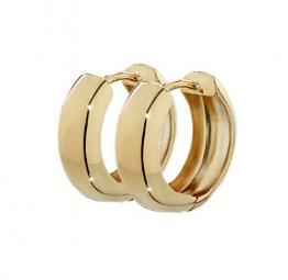 NKlaus Paar 750 Gold gelbgold Klappcreolen Ohrringen 12,2 x 3,2mm Hochglanzpoliert Rund 4738 - 1