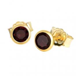 NKlaus Paar Ohrstecker echt Granat rot Gelbgold 333 8 Karat Gold 4,0mm kleine Ohrringe 7995 - 1