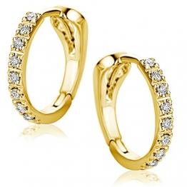 Orovi Damen Diamant Gold Creolen Ohrringe Gelbgold 18 Karat (750) Ohr-Schmuck Brillianten 0.10ct - 1